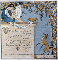 0268242 © Granger - Historical Picture ArchiveCRANE: FOX AND THE GRAPES.   Illustration by Walter Crane for the fable 'The Fox and the Grapes' from 'Baby's Own Aesop,' 1887.