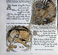 0268244 © Granger - Historical Picture ArchiveCRANE: MOUSE AND THE LION.   Illustrations by Walter Crane for the fables 'The Mouse and the Lion' and 'The Married Mouse' from 'Baby's Own Aesop,' 1887.