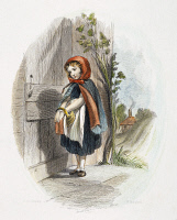 0007682 © Granger - Historical Picture ArchiveLITTLE RED RIDING HOOD.   Little Red Riding Hood at the door to her grandmother's home. American engraving, 19th century, after Felix O.C. Darley.
