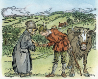 0007845 © Granger - Historical Picture ArchiveJACK AND THE BEANSTALK.   Jack trading his mother's cow for a handful of magic beans. Illustration by Arthur Rackham for a 1918 edition of the traditional English fairy tale.