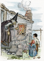 0009239 © Granger - Historical Picture ArchiveGRIMM: HANSEL AND GRETEL.   The wicked witch invites Hansel and Gretel into her house. Drawing by Arthur Rackham for the fairy tale by Brothers Grimm, c1909.