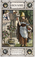 0011092 © Granger - Historical Picture ArchiveGRIMM: SNOW WHITE, c1886.   The evil Queen in disguise offering Snow White the poisoned apple. Drawing by Walter Crane, c1886, for the fairy tale by Brothers Grimm.