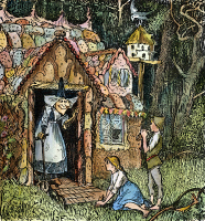0030742 © Granger - Historical Picture ArchiveGRIMM: HANSEL AND GRETEL.   Hansel and Gretel arrive at the witch's cottage. Drawing, c1891, by Henry J. Ford for the fairy tale by Brothers Grimm.