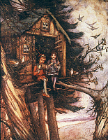 0031965 © Granger - Historical Picture ArchiveBARRIE: PETER PAN.   Peter Pan and Wendy in treehouse. Drawing by Flora White for an early edition of Sir James M. Barrie's 'Peter Pan.'