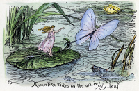 0041376 © Granger - Historical Picture ArchiveANDERSEN: THUMBELINA.   'Thumbelina rides on the waterlily leaf.' Drawing by Henry J. Ford for the fairy tale by Hans Christian Andersen, 1894.