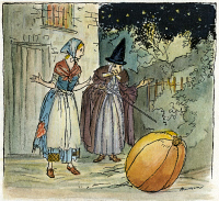 0041377 © Granger - Historical Picture ArchivePERRAULT: CINDERELLA, C1920.    Cinderella's fairy godmother turns a pumpkin into a carriage. Pen-and-ink drawing by Arthur Rackham for the fairy tale by Perrault, c1920.