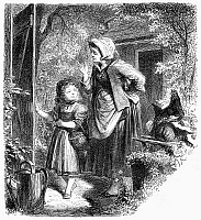 0096448 © Granger - Historical Picture ArchiveLITTLE RED RIDING HOOD.   Mother sends her daughter to bring food to her sick grandmother. Wood engraving, German, 19th century, for the Brothers Grimm's version of the fairy tale.