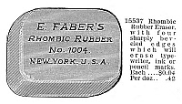0078296 © Granger - Historical Picture ArchiveADVERTISEMENT: ERASER.   Rhombic rubber eraser, made in New York. Engraving, 1895.