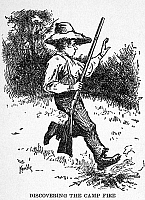 0000306 © Granger - Historical Picture ArchiveCLEMENS: HUCK FINN.   'Discovering the camp fire.' Drawing by Edward Windsor Kemble for the 1885 American edition of Mark Twain's 'The Adventures of Huckleberry Finn.'