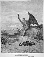 0005730 © Granger - Historical Picture ArchiveMILTON: PARADISE LOST.   Satan and the snake. Engraving after Gustave Dore to a 19th century edition of John Milton's 'Paradise Lost' (Book IX, lines 182-183).