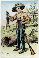 0009154 © Granger - Historical Picture ArchiveCLEMENS: HUCK FINN, 1884.   Huckleberry Finn as drawn by Edward Windsor Kemble for a the first edition of Mark Twain's 'The Adventures of Huckleberry Finn,' 1884.