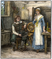 0009550 © Granger - Historical Picture ArchiveLONGFELLOW: STANDISH, 1886.   Priscilla Mullens wondering to John Alden why Miles Standish does not woo her himself. Engraving after George Henry Boughton (1833-1905) from a late 19th century edition of Henry Wadsworth Longfellow's poem, 'The Courtship of Miles Standish.'
