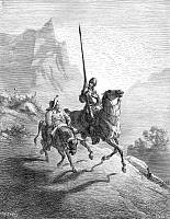 0012350 © Granger - Historical Picture ArchiveCERVANTES: DON QUIXOTE AND SANCHO, 1863. Don Quixote and Sancho Panza setting out at dawn in search of adventure. Engraving after Gustave Doré, 1863.