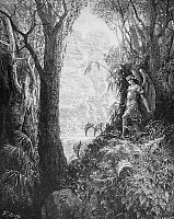 0013802 © Granger - Historical Picture ArchiveMILTON: PARADISE LOST.   Having entered Paradise, Satan, standing on the Tree of Life, looks out over the beautfiul landscape around him (Book 4, line 247). Wood engraving after Gustave Doré.