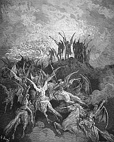 0013805 © Granger - Historical Picture ArchiveMILTON: PARADISE LOST.   The rebel angels summoned to the conclave in Satan's Golden Palace, Pandaemonium (Book I, lines 757-9). Wood engraving after Gustave Doré for John Milton's 'Paradise Lost.'