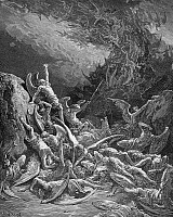 0013806 © Granger - Historical Picture ArchiveMILTON: PARADISE LOST.   The rebel angels are defeated and are forced to cast themselves out of Heaven headlong into a ghastly abyss (Book 6, line 871). Wood engraving after Gustave Dore for John Milton's 'Paradise Lost.'