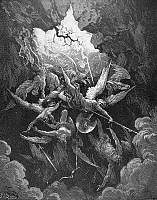 0013807 © Granger - Historical Picture ArchiveMILTON: PARADISE LOST.   The rebel angels fall through the breach in the wall of Heaven and plunge down into hell (Book VI, lines 874-5). Wood engraving after Gustave Dore for John Milton's 'Paradise Lost.'