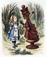 0027146 © Granger - Historical Picture ArchiveCARROLL: LOOKING GLASS.   Alice and the Red Queen. Wood engraving after Sir John Tenniel for the first edition of Lewis Carroll's 'Through the Looking Glass,' 1872.