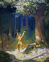 0029418 © Granger - Historical Picture ArchiveCOOPER: DEERSLAYER, 1925.   'A man of gigantic mould broke out of the tangled labyrinth of a small swamp, emerging into an opening.' Illustration by N.C. Wyeth to a 1925 edition of 'The Deerslayer' by James Fenimore Cooper.