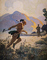 0029419 © Granger - Historical Picture ArchiveCOOPER: DEERSLAYER, 1925.   The Native American with his tomahawk charges Deerslayer [Natty Bumppo]: illustration by N.C. Wyeth to a 1925 edition of 'The Deerslayer' by James Fenimore Cooper.