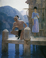 0029424 © Granger - Historical Picture ArchiveCOOPER: DEERSLAYER, 1925.   Judith 'went herself on the platform ... [where] she found Chingachgook studying the shores of the lake.' Illustration by N.C. Wyeth to a 1925 edition of 'The Deerslayer' by James Fenimore Cooper.
