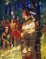 0029425 © Granger - Historical Picture ArchiveCOOPER: DEERSLAYER, 1925.   Deerslayer, tied to a stake, endures trial by tomahawk and knife at the hands of the Huron Native Americans. Illustration by N.C. Wyeth to a 1925 edition of 'The Deerslayer' by James Fenimore Cooper.