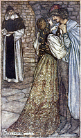 0030010 © Granger - Historical Picture ArchiveROMEO AND JULIET.   Aruthur Rackham's drawing of Romeo and Juliet with Friar Lawrence. Pen and ink and watercolor, 1899-1906.