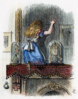 0031000 © Granger - Historical Picture ArchiveDODGSON: LOOKING GLASS.   Alice found 'the glass was beginning to melt away.' After the design by Sir John Tenniel for the first edition, 1872, of Lewis Carroll's 'Through the Looking Glass.'