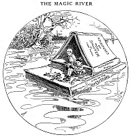 0031495 © Granger - Historical Picture ArchiveCLEMENS: TOM & HUCK.   'The Magic River.' Cartoon by Luther D. Bradley for the Chicago Daily News on the occasion of the death of American humorist and writer Samuel L. Clemens ('Mark Twain'), 21 April 1910, depicting Clemens' creations, Tom Sawyer and Huckleberry Finn, floating down the Mississippi on a literary raft.