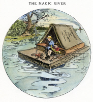 0031696 © Granger - Historical Picture ArchiveCLEMENS: TOM & HUCK, 1910.   Samuel Clemens' creations, Tom Sawyer and Huckleberry Finn, floating down the Mississippi on a literary raft. Cartoon by Luther D. Bradley on the occasion of Clemens' death, 21 April 1910.