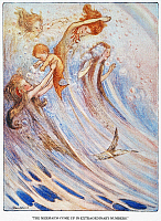 0031914 © Granger - Historical Picture ArchiveBARRIE: PETER PAN.   'The mermaids come up in extraordinary numbers to play with their bubbles.' Illustration by Flora White for an early edition of Sir James M. Barrie's 'Peter Pan.'