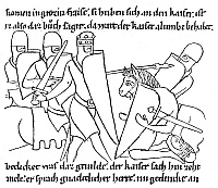 0033209 © Granger - Historical Picture ArchiveCHARLEMAGNE (742-814).   King of the Franks (768-814) and Emperor of the West (800-814). Charlemagne slaying an opponent. From a page of the 12th century Heidelberg manuscript of the 'Chanson de Roland' by Pfaffen Konrad.