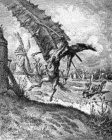 0033489 © Granger - Historical Picture ArchiveDON QUIXOTE AND WINDMILL.   Seeing what he imagines are giants, the Don charges full-tilt at a windmill with disastrous result. Engraving after Gustave Doré.