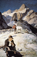 0035088 © Granger - Historical Picture ArchiveWYETH: HEIDI & PETER.   Heidi and Peter on the mountain: oil on canvas by N.C. Wyeth for