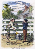 0035623 © Granger - Historical Picture ArchiveCLEMENS: TOM SAWYER, 1876.  'Ain't that work?' The immortal incident of whitewashing the fence. Drawing by True Williams from the first edition of the