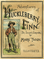 0035697 © Granger - Historical Picture ArchiveCLEMENS: HUCK FINN, 1884.   Cover from the original edition of Mark Twain's 'Adventures of Huckleberry Finn' with illustrations by E.W. Kemble, 1884.