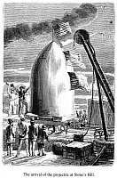 0035955 © Granger - Historical Picture ArchiveVERNE: EARTH TO MOON.   'From the Earth to the Moon.' The arrival of the projectile at Stone's Hill. Wood engraving from a 19th century edition by Jules Verne.