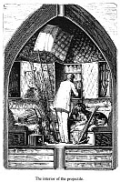 0035956 © Granger - Historical Picture ArchiveVERNE: EARTH TO MOON.   'From the Earth to the Moon.' The interior of the projectile. Wood engraving from a 19th century edition by Jules Verne.