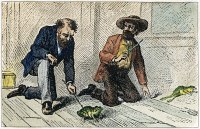 0037436 © Granger - Historical Picture ArchiveFROG OF CALAVERAS COUNTY, 1867. Jim Smiley, Simon Wheeler, and the frog Dan'l in the climactic race from Mark Twain's 'The Celebrated Jumping Frog of Calaveras County, and Other Sketches.' Illustration, 1867.