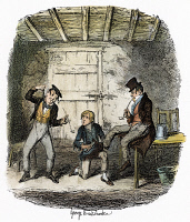 0040288 © Granger - Historical Picture ArchiveDICKENS: OLIVER TWIST, 1838. 'Master Bates explains a professional technicality.' Etching by George Cruikshank to the first edition of Charles Dickens' 'Oliver Twist,' 1837-38.