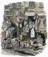 0043160 © Granger - Historical Picture ArchiveDICKENS: SKETCHES, 1836.   Monmouth Street, London. Etching by George Cruikshank for Charles Dickens' 'Sketches by Boz,' 1836.