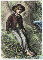 0047189 © Granger - Historical Picture ArchiveCLEMENS: TOM SAWYER, 1876.   Frontispiece engraving for the first edition of Mark Twain's 'The Adventures of Tom Sawyer,' 1876.