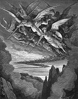0048426 © Granger - Historical Picture ArchiveMILTON: PARADISE LOST.   Satan bids the rebellious angels who had fallen with him into the fiery abyss to take courage and rise again together (Book 1, lines 344-5). Wood engraving after Gustave Dore for John Milton's 'Paradise Lost.'