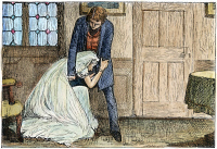0049943 © Granger - Historical Picture ArchiveGREAT EXPECTATIONS, 1861.    'I entreated her to rise.' Pip (Philip Pirip) attempts to comfort Miss Havisham in 'Great Expectations' by Charles Dickens. Illustration by Francis Arthur Fraser, 1871.