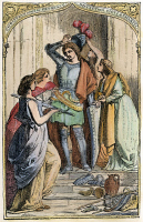 0051493 © Granger - Historical Picture ArchiveBUNYAN: PILGRIM'S PROGRESS, 1844. Christian Armed by Prudence, Discretion, Piety, and Charity. Engraving after a drawing by H.C. Selous, for an 1844 edition of John Bunyan's 'The Pilgrim's Progress,' first published in London in 1678.