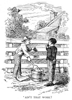 0053954 © Granger - Historical Picture ArchiveCLEMENS: TOM SAWYER.   The immortal incident of whitewashing the fence. Illustration by True Williams for the first edition of Mark Twain's 'The Adventures of Tom Sawyer,' 1876.