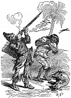 0058958 © Granger - Historical Picture ArchiveROBINSON CRUSOE.   Friday cringing at the sound of a musket as Crusoe shoots a parrot. Wood engraving from a 19th century edition of the book by Daniel Defoe.