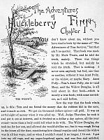 0084523 © Granger - Historical Picture ArchiveCLEMENS: HUCK FINN.   The first page of the 1885 American edition of Mark Twain's 'The Adventures of Huckleberry Finn,' featuring an illustration by Edward Windsor Kemble.