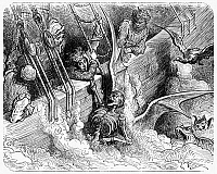 0087204 © Granger - Historical Picture ArchiveRABELAIS: PANTAGRUEL.   Panurge's fear of death at sea (IV, 20). Wood engraving after Gustave Doré from an 1873 edition of François Rabelais' 'Gargantua and Pantagruel.'