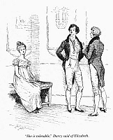 0093700 © Granger - Historical Picture ArchiveAUSTEN: PRIDE & PREJUDICE.   Elizabeth Bennet overhears Mr. Darcy at the Ball. Illustration by Hugh Thomson from an 1894 edition of Jane Austen's 'Pride and Prejudice,' first published in 1813.